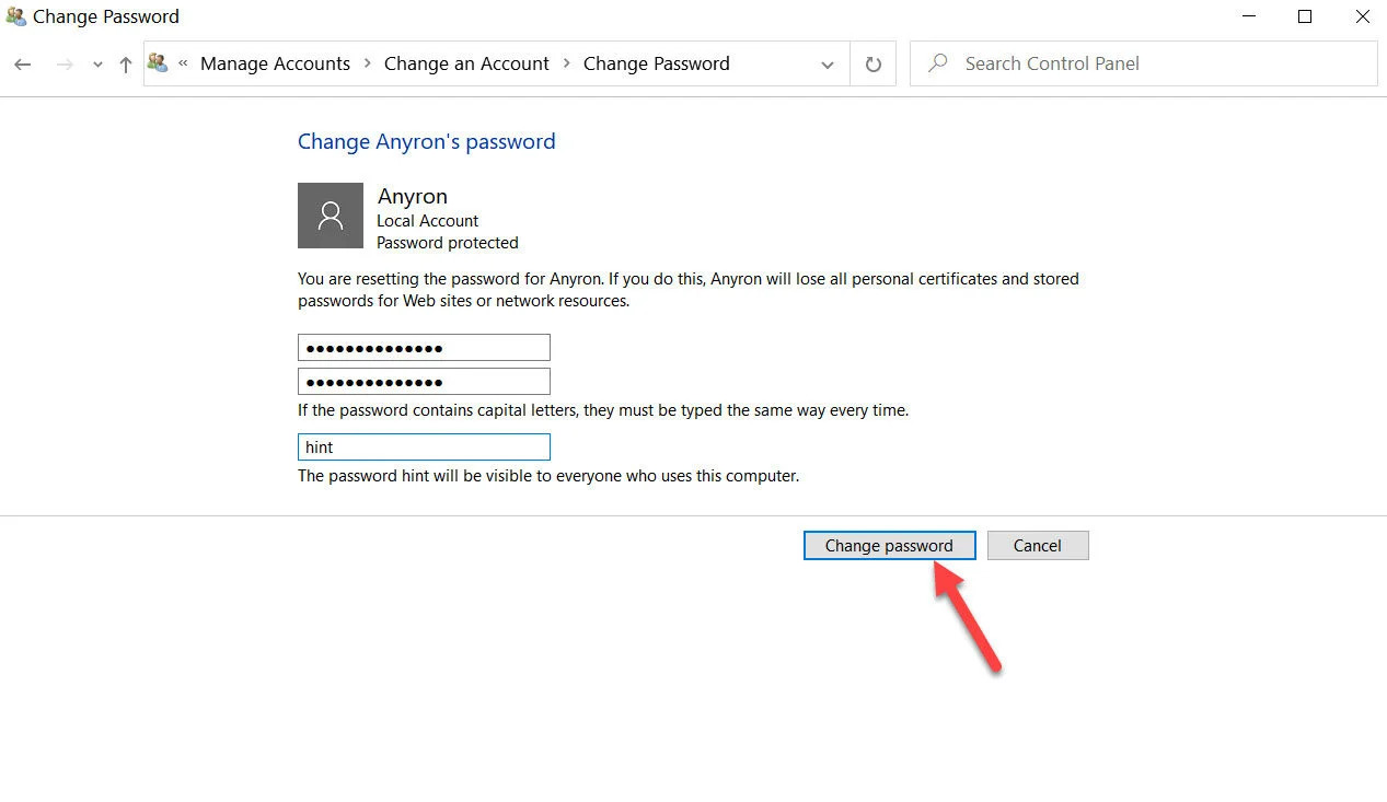How to change another user's password on Windows 10